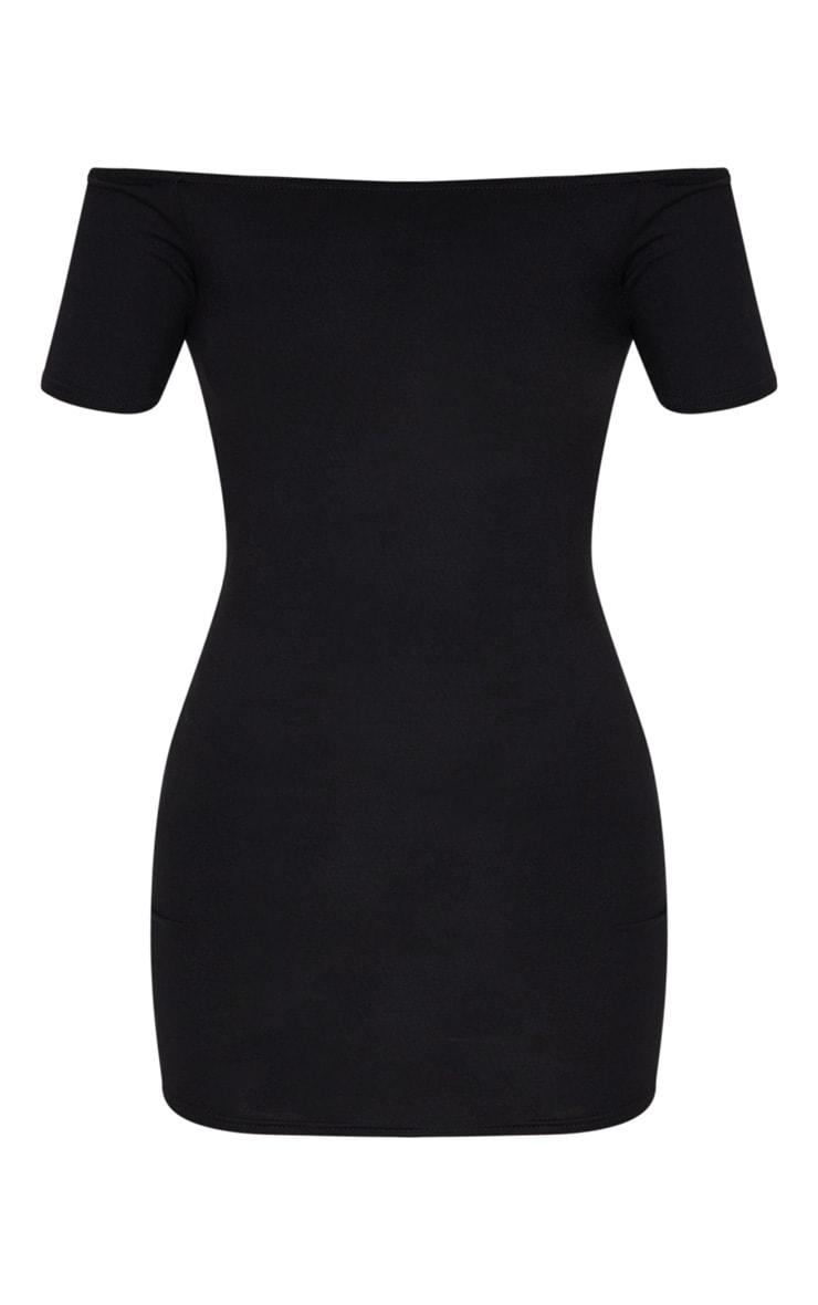 Basic Black Short Sleeve Bardot Bodycon Dress 6
