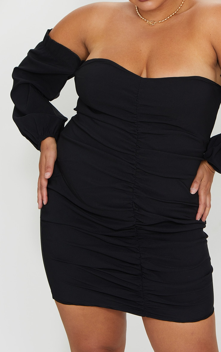 Plus Black Stretch Bardot Ruched Front Bodycon Dress 4