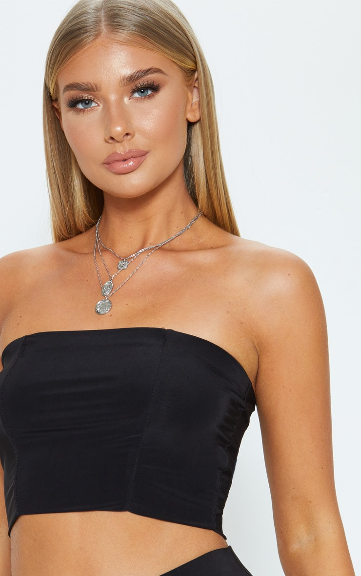 Helsa Black Slinky Bandeau Crop Top 5