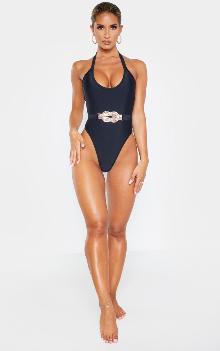 Black Diamante Twist Trim Belted Swimsuit 4