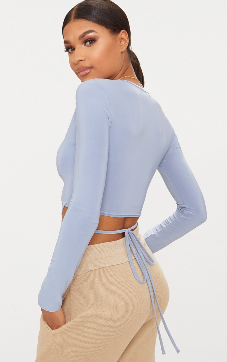 Powder Blue Slinky Long Sleeve Tie Waist Crop Top  2