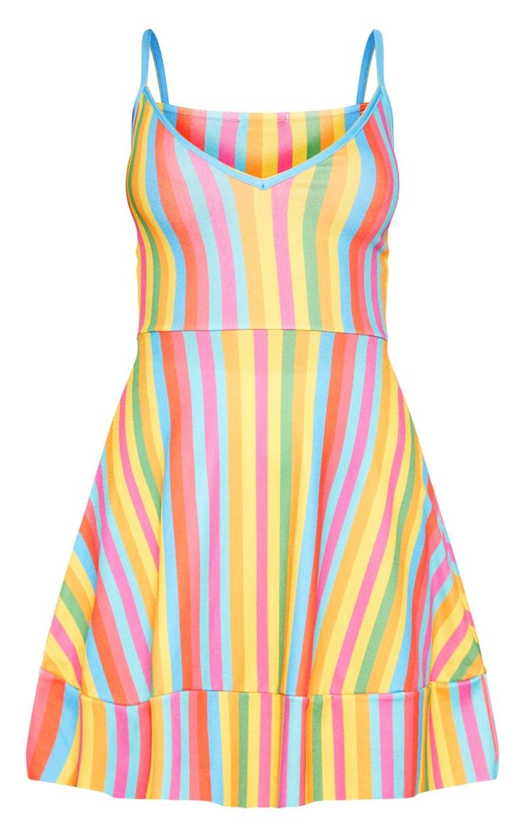 Multi Stripe Print Plunge Skater Dress 3