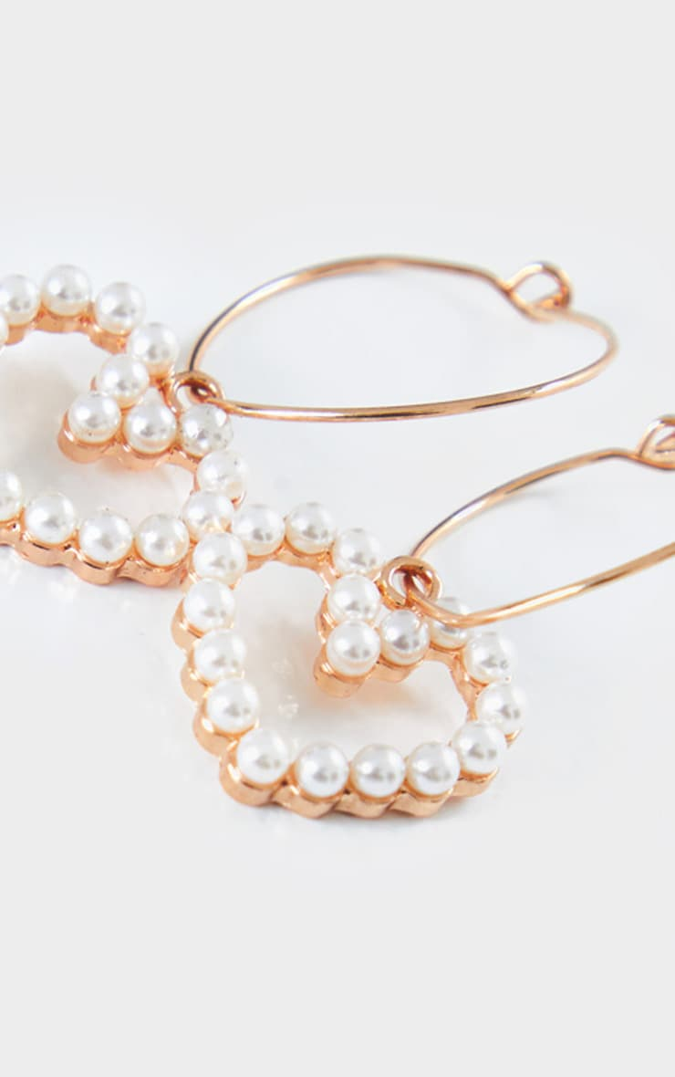 Gold Pearl Heart Charm Earrings 3