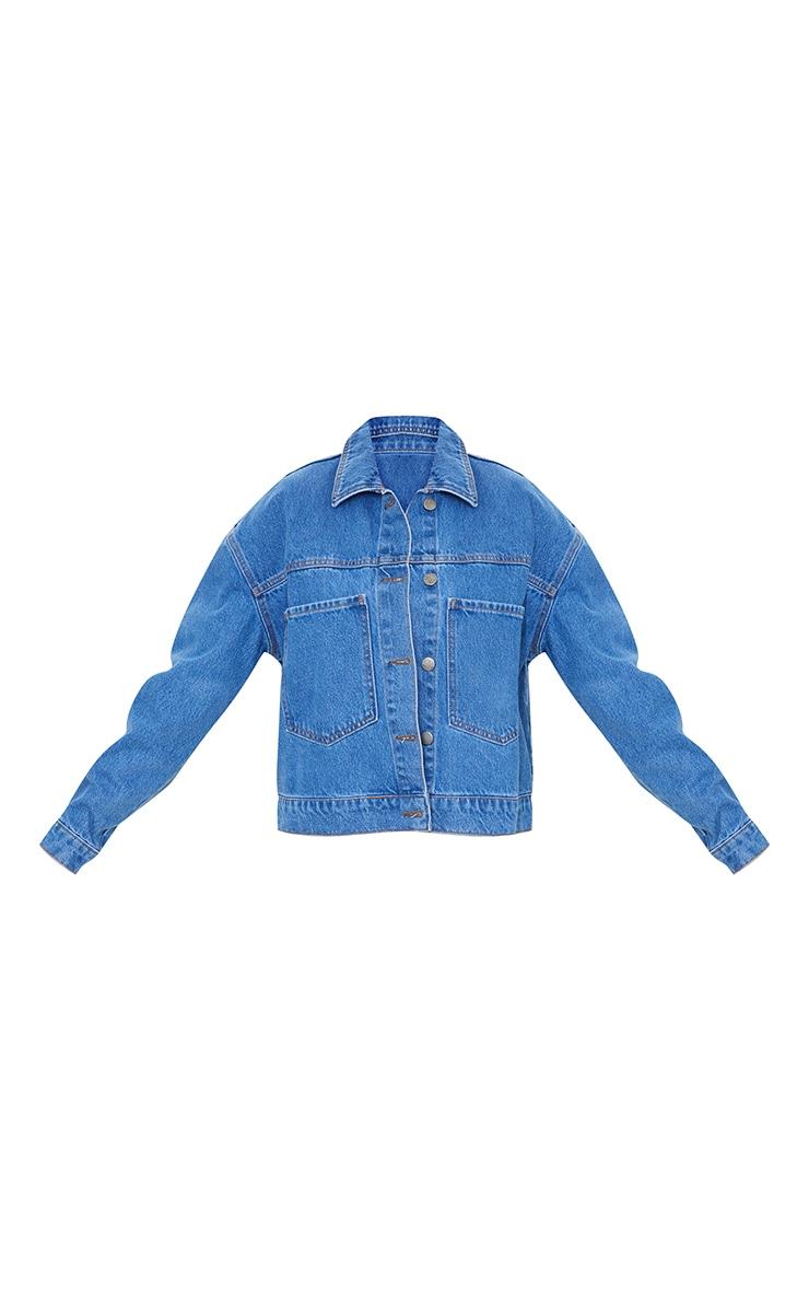 Mid Blue Wash Pocket Detail Oversized Denim Crop Jacket 5