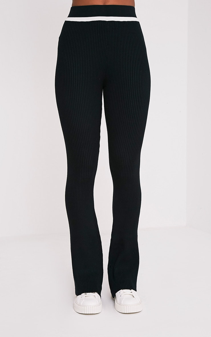 Sufiya Mono Colour Block Knit Ribbed Trousers 2