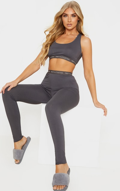 PRETTYLITTLETHING Grey Bralet and Legging Pj Set