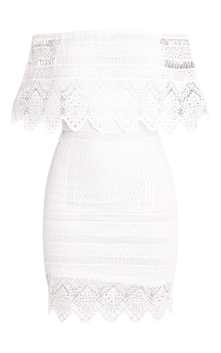 Nora White Lace Bardot Midi Dress 3