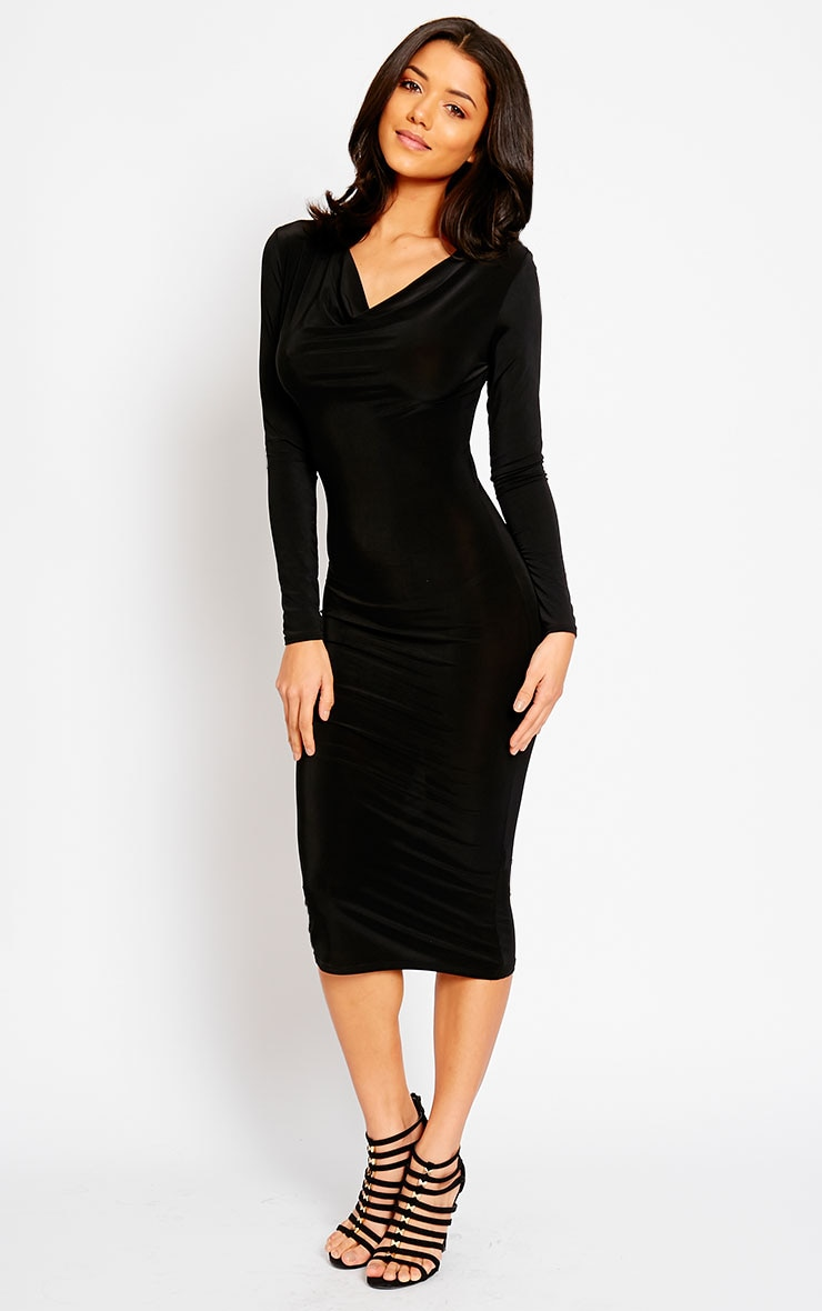 Ziva Black Slinky Cowl Neck Midi Dress 3