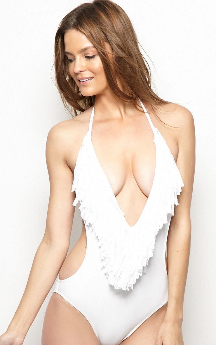 Blanca White Cut-Out Frill Swimsuit 1