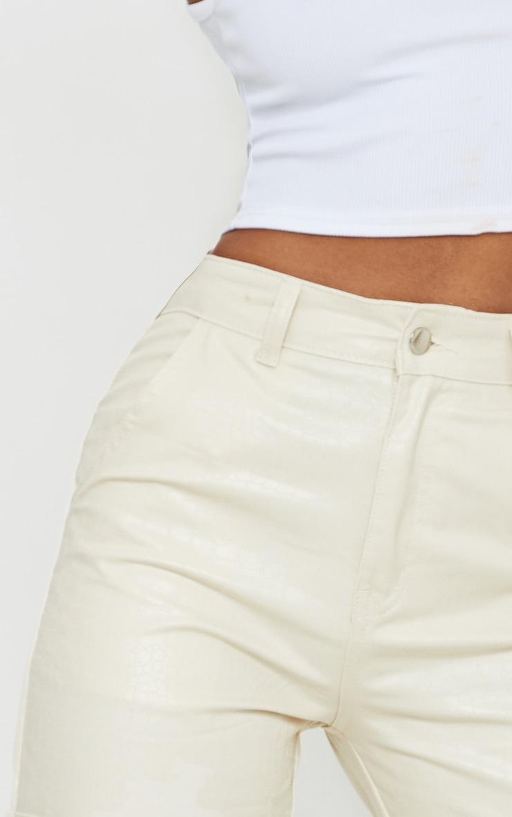 Sand Croc Coated Cargo Pocket Detail Split Hem Jeans 4