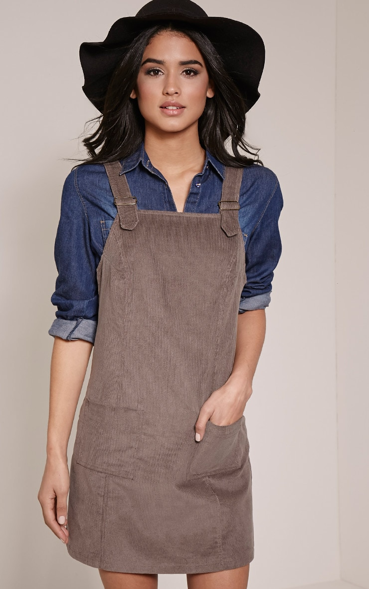 Maxine Grey Cord Pinafore Dress 1