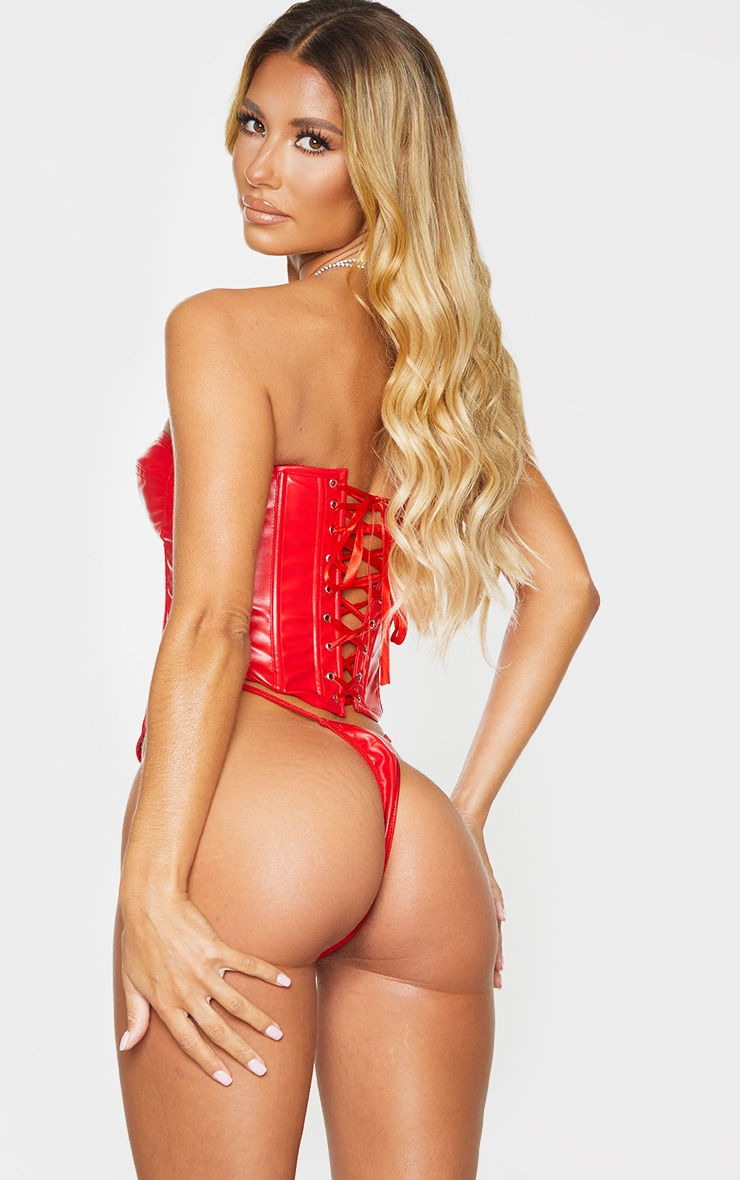 Red Faux Leather Corset And Strappy Thong Set 2