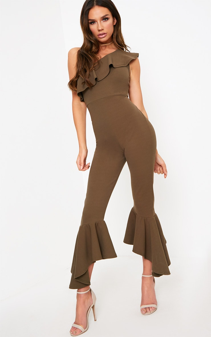 Khaki One Shoulder Frill Detail Flared Ankle Jumpsuit 1