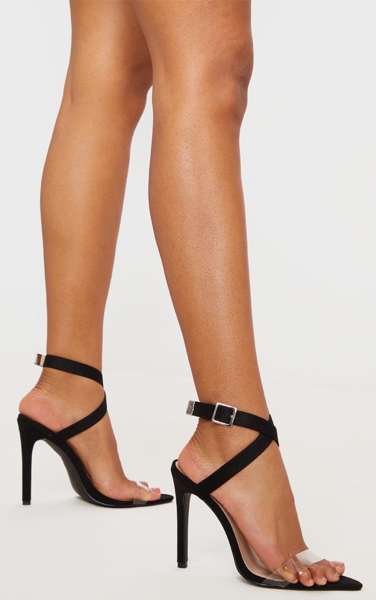 Sandales pointure large noires pointues à bride transparente 1
