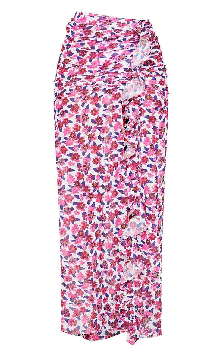 Pink Floral Frill Side Maxi Beach Skirt 5