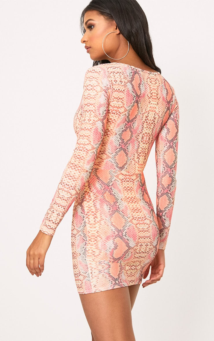 Elsiah Hot Pink Snake Print Cut Out Bodycon Dress 2