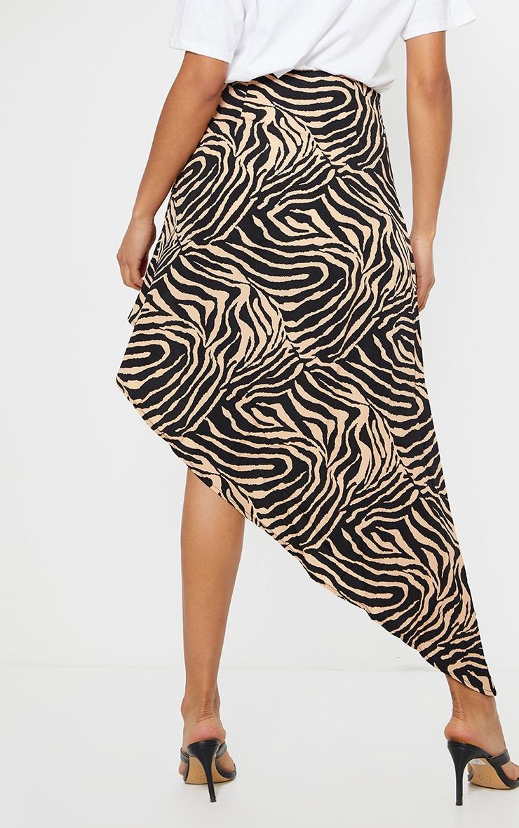 Tan Zebra Print Satin Asymmetric Skirt 3