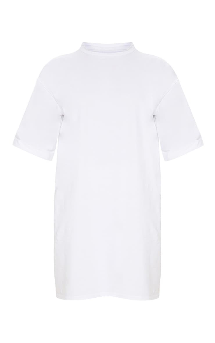 Plus White Oversized Roll Sleeve T-Shirt Dress 5