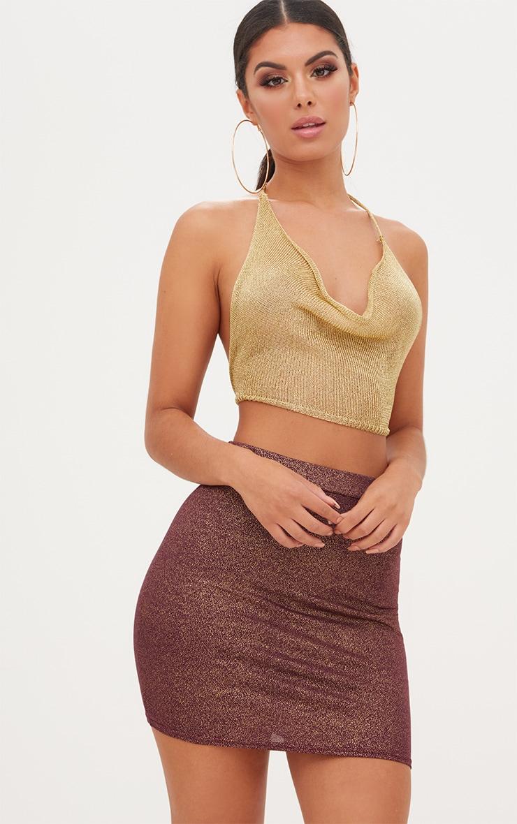 Burgundy Speckle Foil Mini Skirt 1