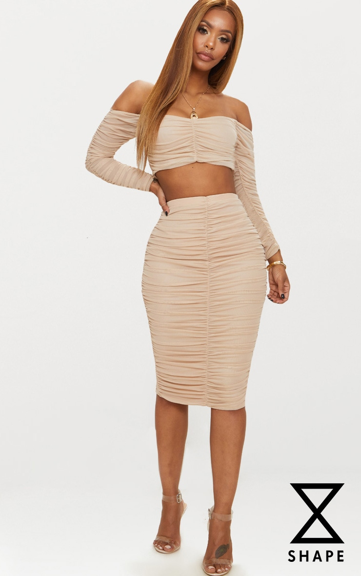 Shape Nude Mesh Ruched Midi Skirt 1