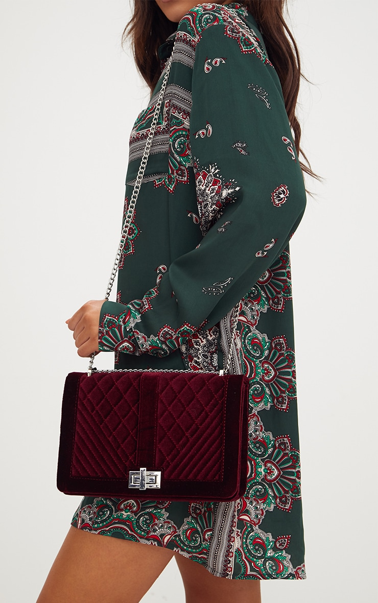 Burgundy Velvet Quilted Shoulder Bag 1
