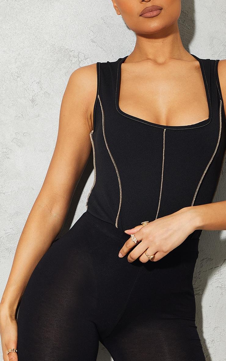 Black Crepe Contrast Seam Square Neck Bodysuit 4
