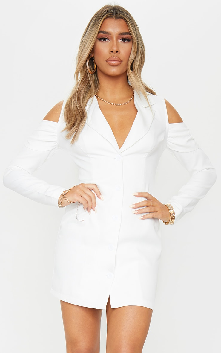 White Cold Shoulder Detail Blazer Dress 1
