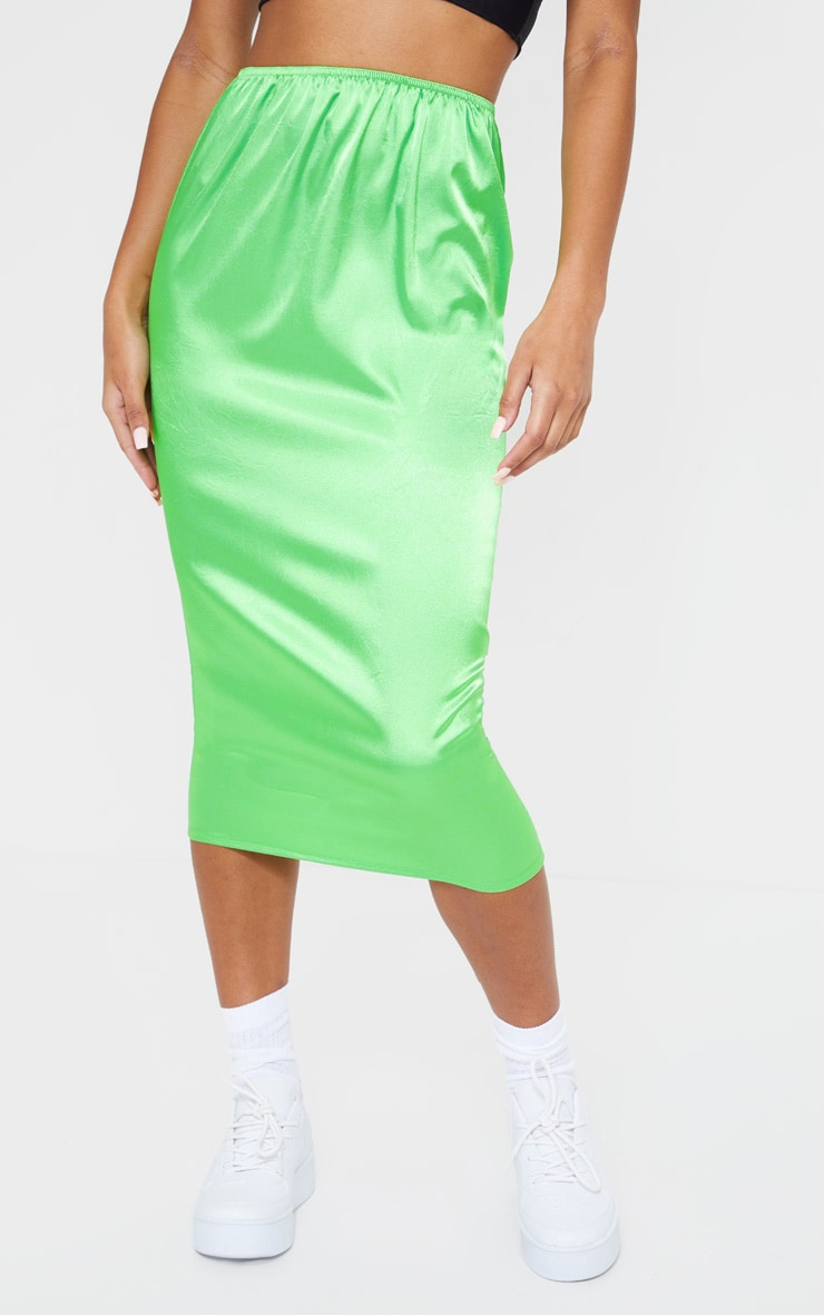 Green Satin Midi Skirt 2