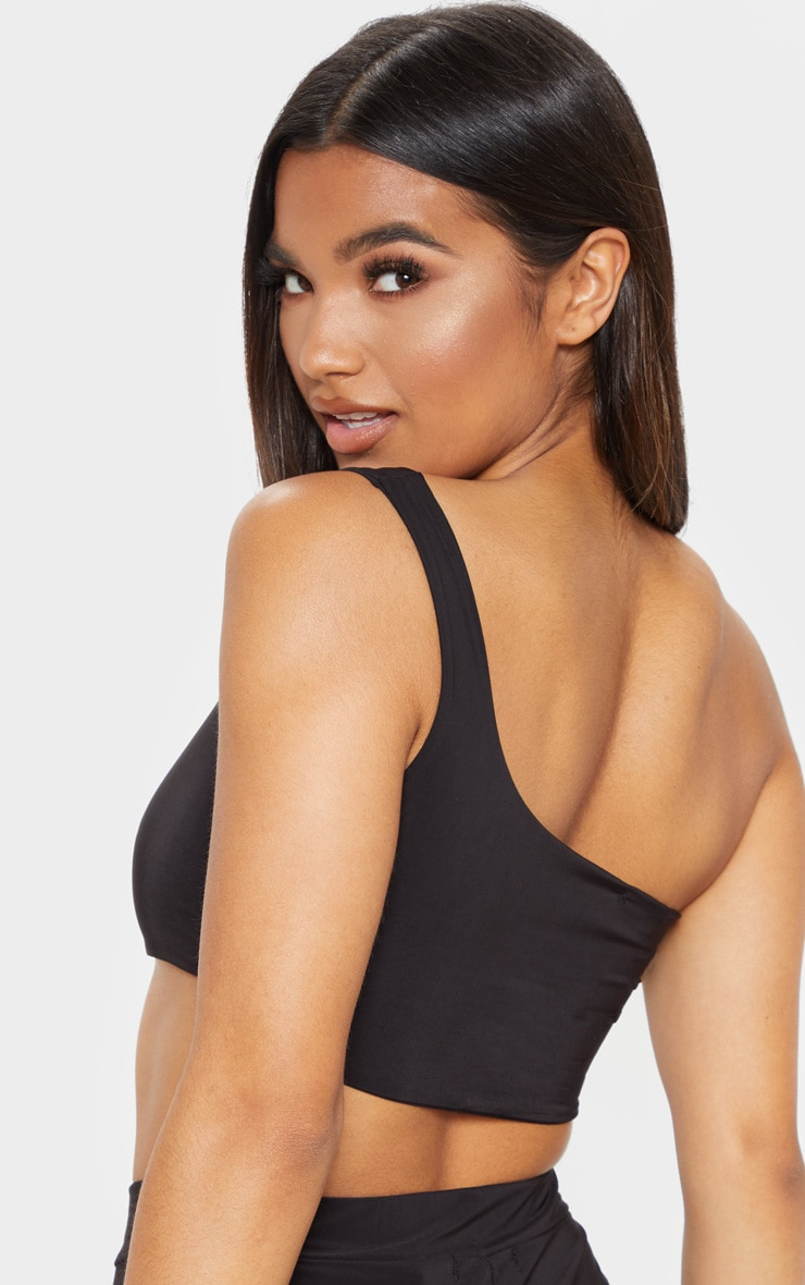 Black Slinky One Shoulder Crop Top 6