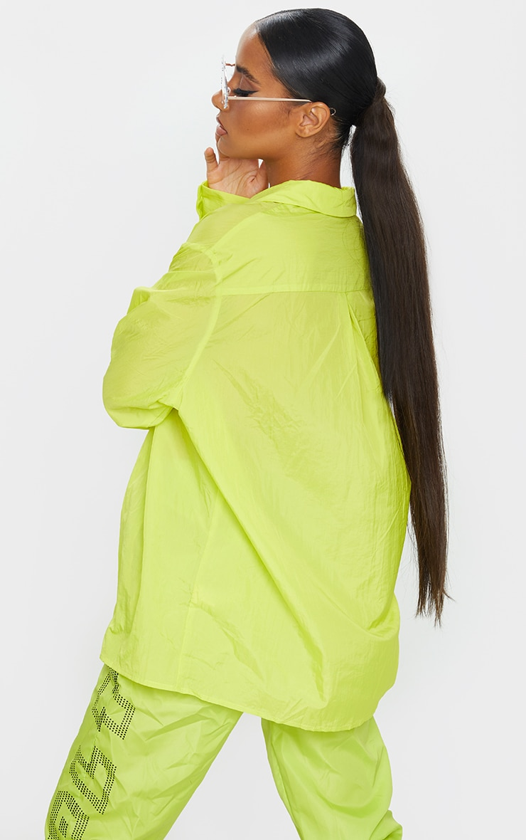 Lime Green Oversized Sheer Cuff Shirt 2