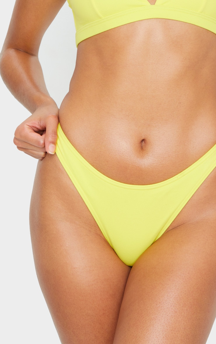 Yellow High Rise Peachskin Bikini Bottoms 5