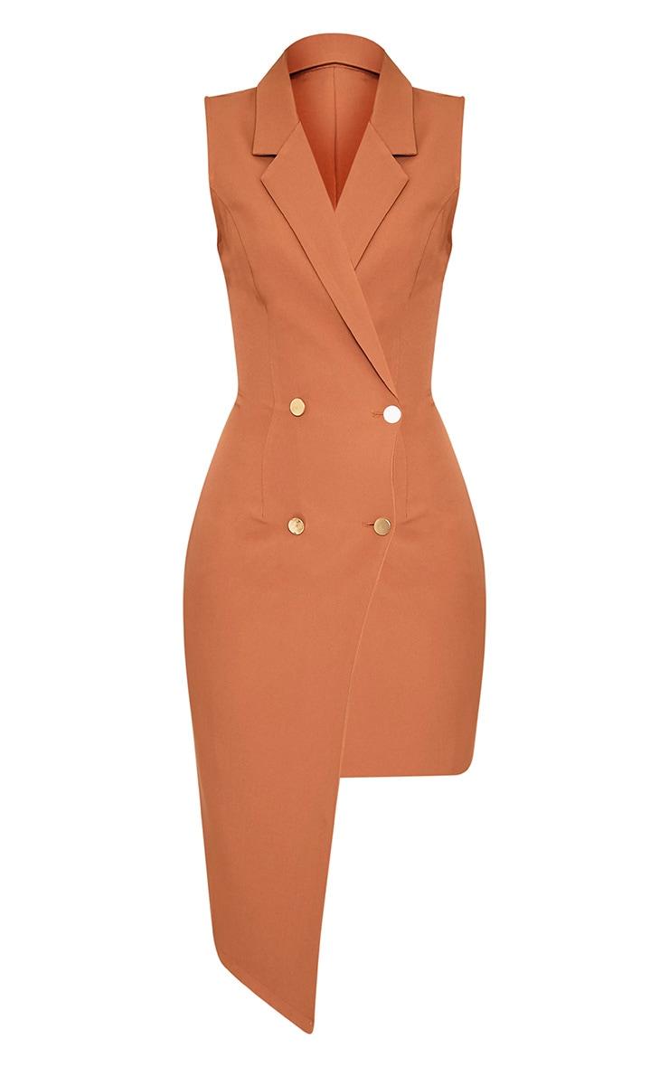 Samanthia Camel Asymmetric Blazer Dress 3