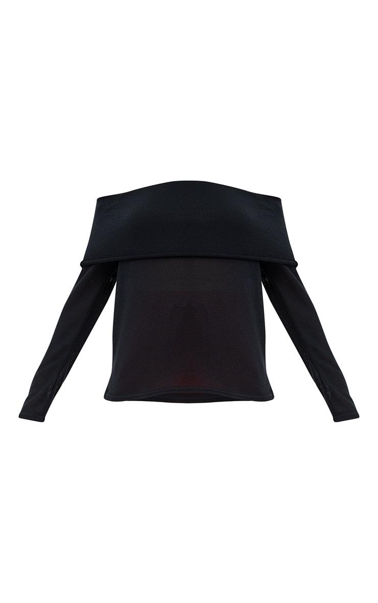 Black Lightweight Knit Bardot Longsleeve Top 3