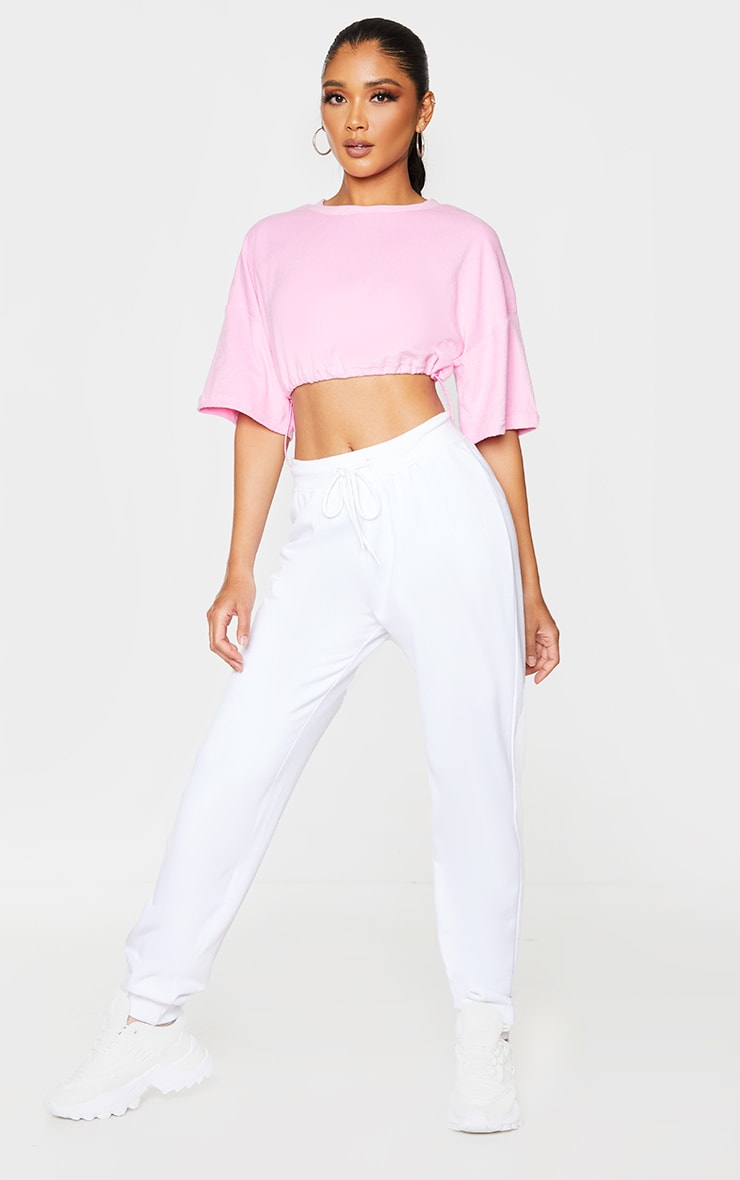 Pink Towelling Drawstring Toggle Crop Top 3