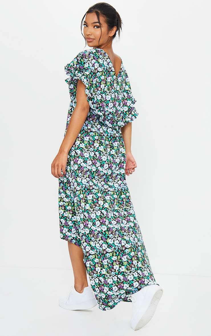 Black Ditsy Floral Print Tie Neck Ruffle Maxi Dress 2