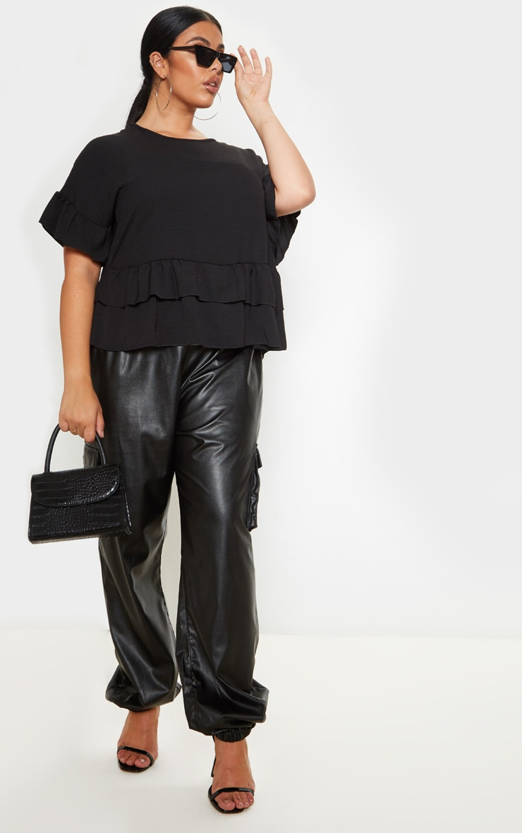 Plus Black Frill Detail Blouse  4