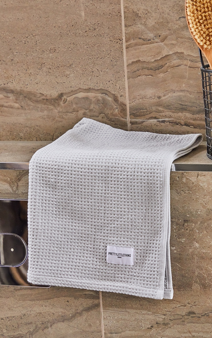 Grey Waffle Cotton Hand Towel Pack Of 2 4