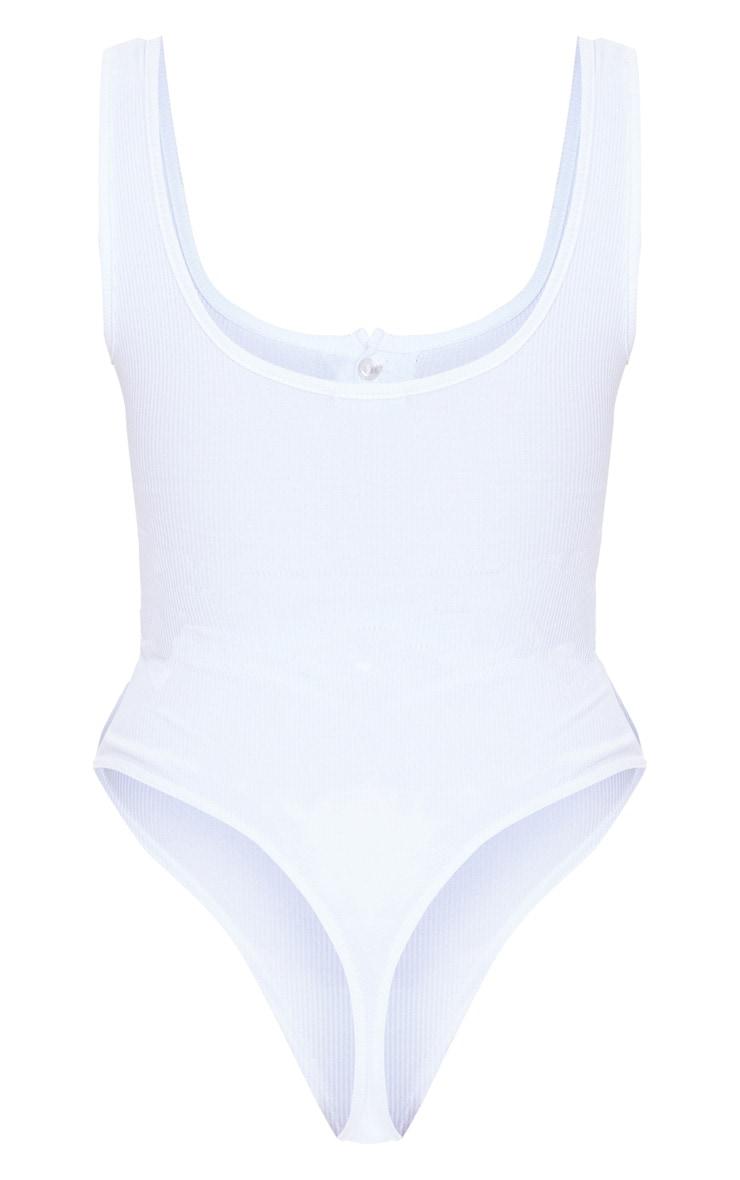 White Scoop Neck Button Detail Bodysuit 6