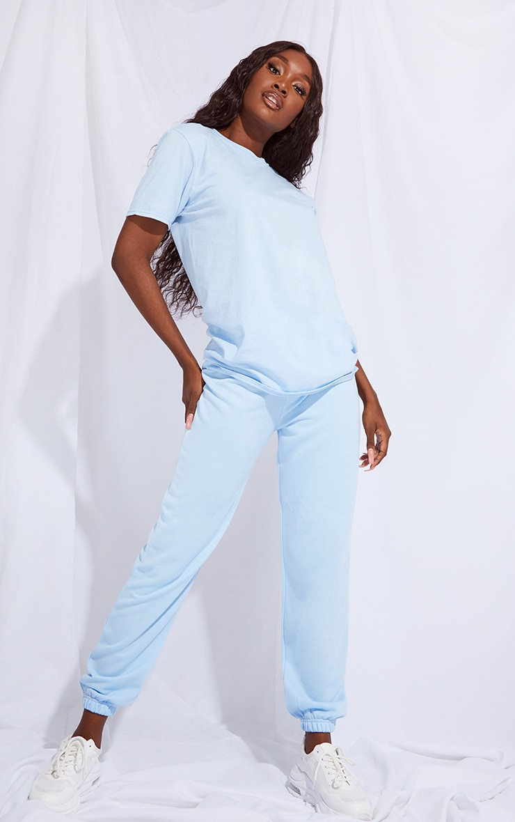 Tall Basic Baby Blue Cuffed Hem Jogger 1