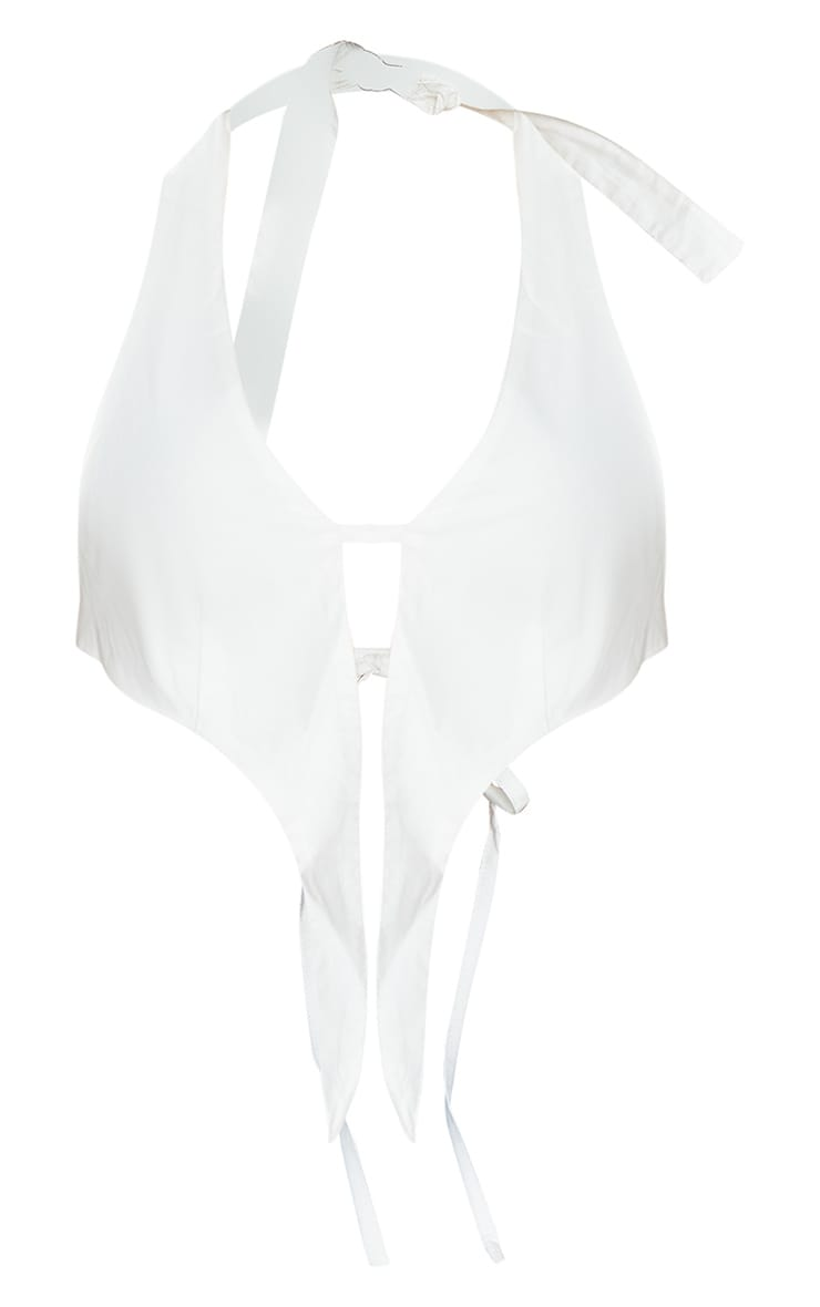 White Woven Extreme Pointed Hem Halterneck Long Top 5