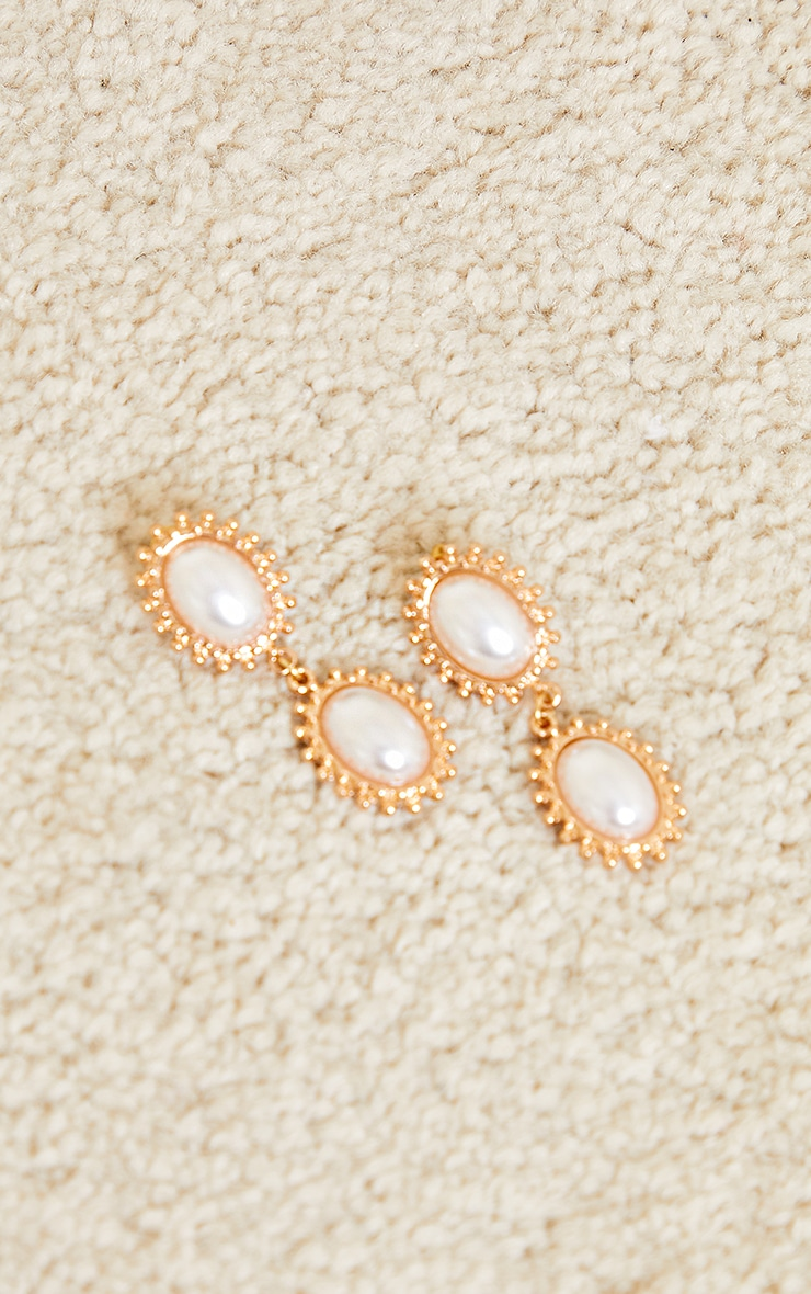Gold Double Pearl Earrings 2