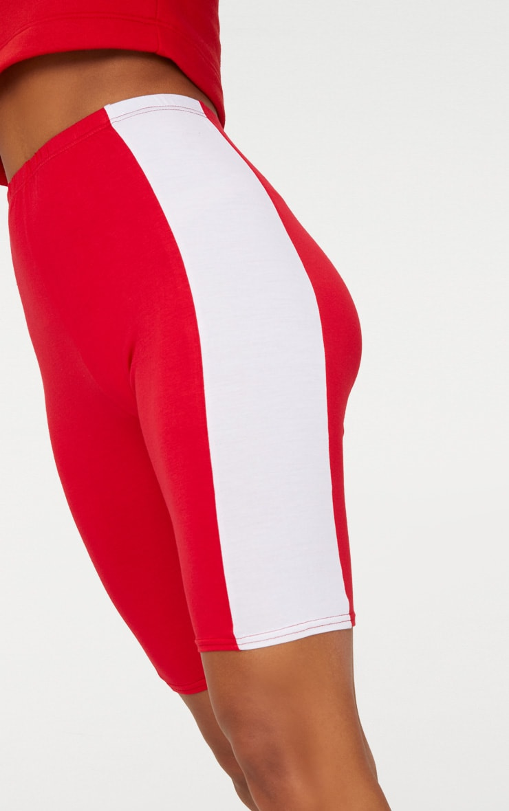 Red Contrast Panel Bike Shorts 5