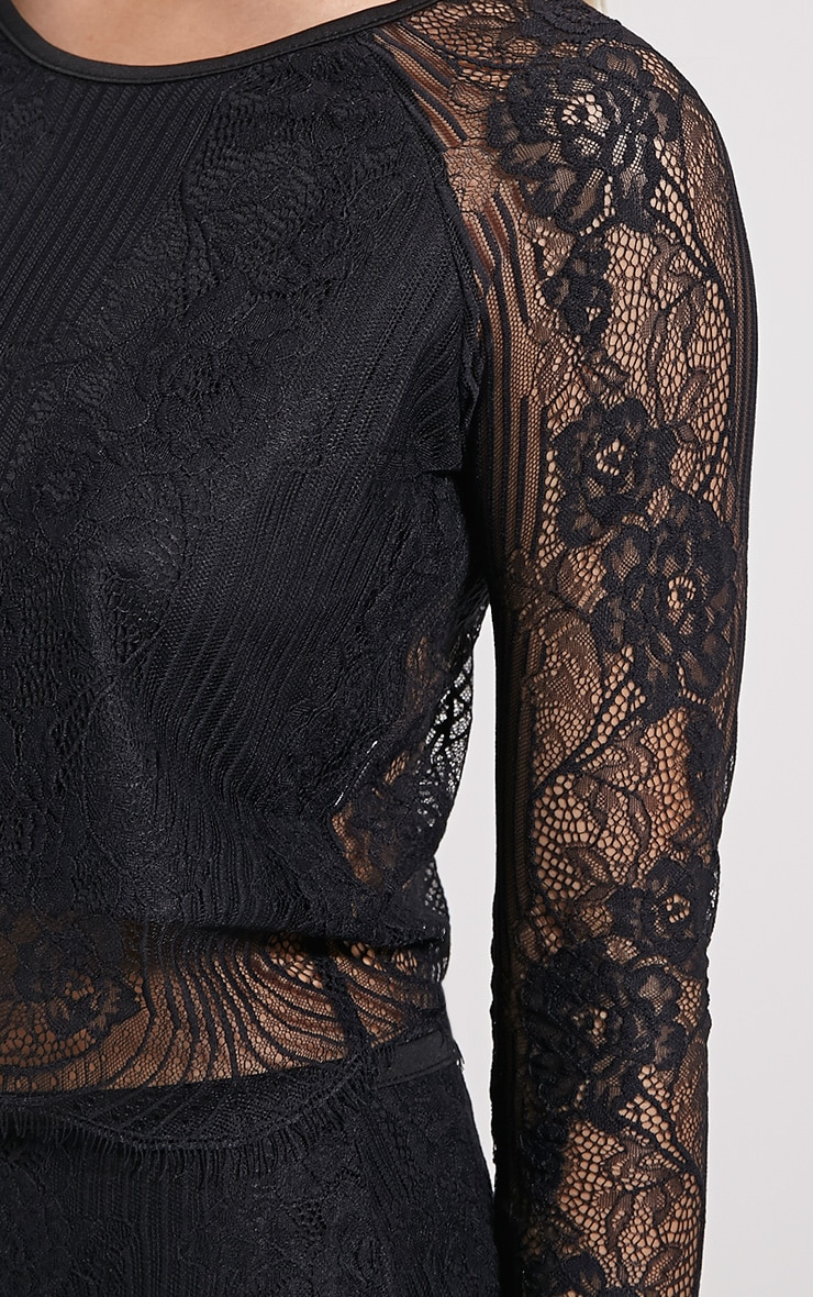 Luisa Black Lace Long Sleeve Top 5