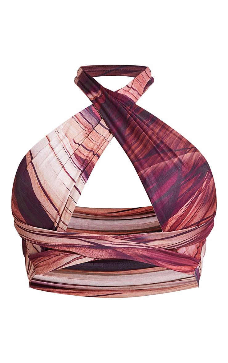 Brown Abstract Printed Slinky Cross Front Underbust Wrap Around Crop Top 5