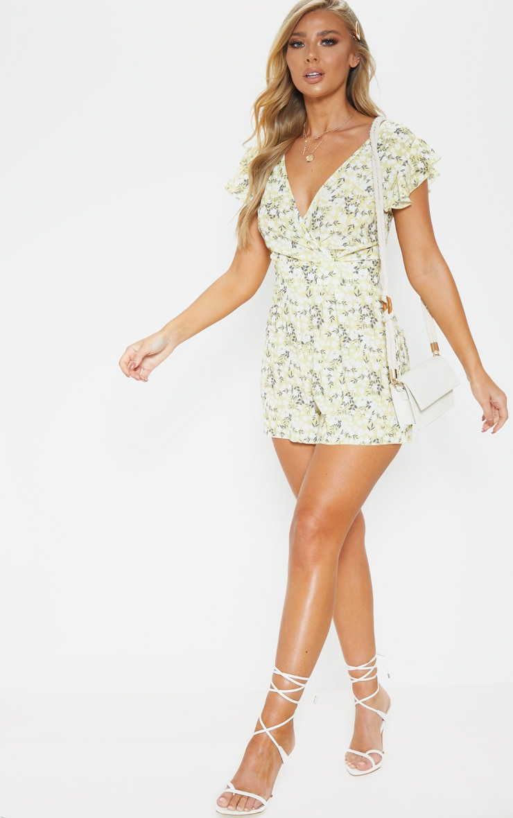 Yellow Ditsy Floral Wrap Romper 4