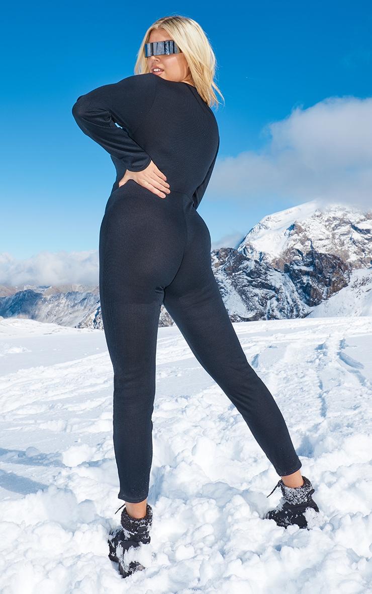 Plus Black Rib Popper Detail Long Sleeve Jumpsuit 2
