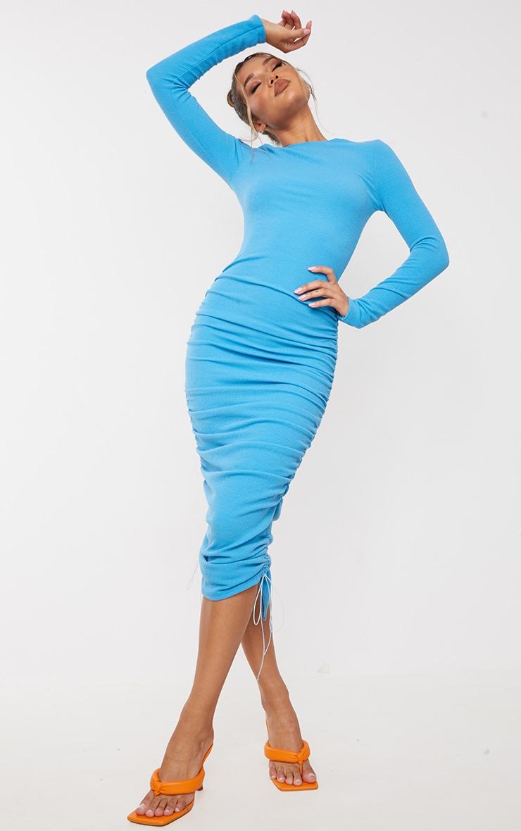 Blue Ribbed Long Sleeve Ruched Midi Dress 3