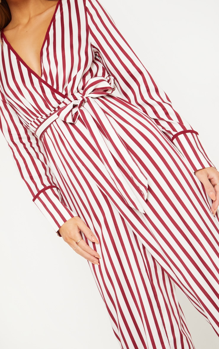 White Multi Stripe Plunge Satin Piped Wide Leg Jumpsuit 5