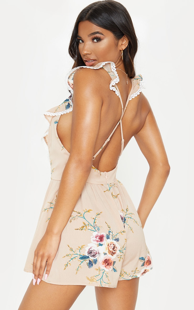 Nude Floral Print Lace Trim Tie Back Playsuit 2