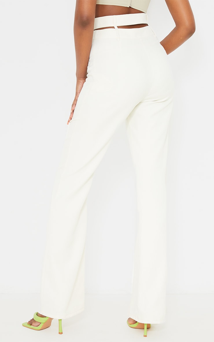 White Woven Double Waist Band Flared Trousers 3